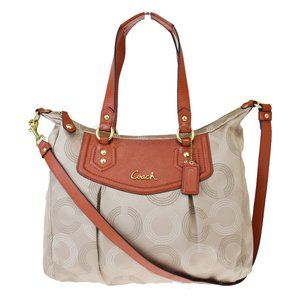 Coach 2Way F20068 Canvas,Leather Shoulder Bag Beig